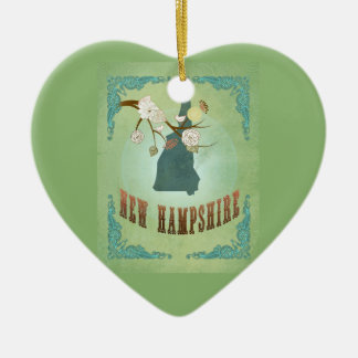 Vintage New Hampshire State Map – Sage Green Christmas Ornament