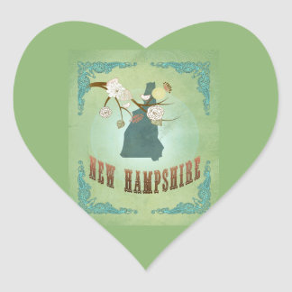 Vintage New Hampshire State Map – Sage Green Heart Sticker