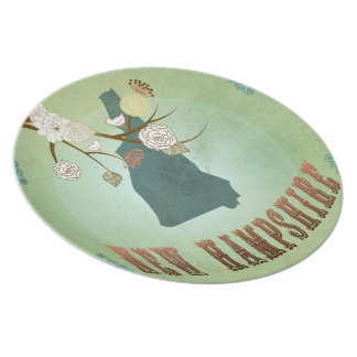 Vintage New Hampshire State Map – Sage Green Party Plates