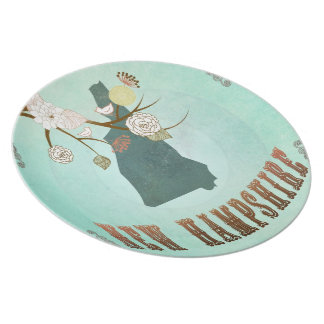 Vintage New Hampshire State Map – Turquoise Blue Party Plate