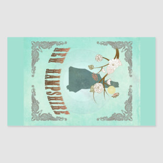 Vintage New Hampshire State Map – Turquoise Blue Rectangle Sticker