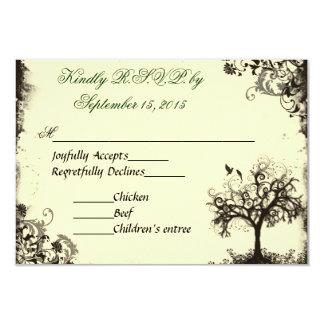 Vintage New Life RSVP in Off white 9 Cm X 13 Cm Invitation Card