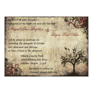 "Vintage New Life Wedding Invitation in Wine 5"" X 7"" Invitation Card"