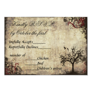 Vintage New Life Wedding Invitation RSVP in Wine