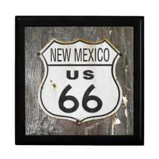 Vintage New Mexico Route 66 Sign. Large Square Gift Box