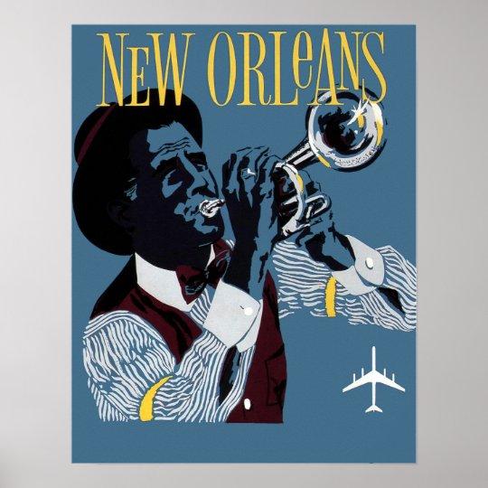 Vintage New Orleans Travel Jazz Trumpet Poster