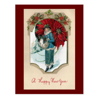 Vintage New Year Lady Clad in Blue with Poinsettia Postcard
