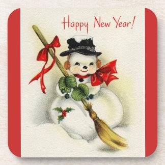 Vintage New Year Snowman Coaster