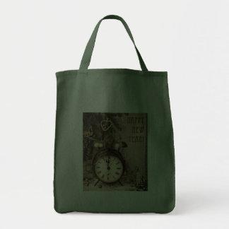 Vintage New Year Grocery Tote Bag