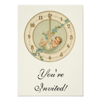Vintage New Years Baby Clock 13 Cm X 18 Cm Invitation Card