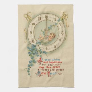 Vintage New Years Baby Clock Towel