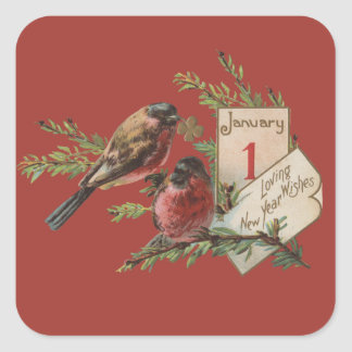 Vintage New Years Birds Square Sticker