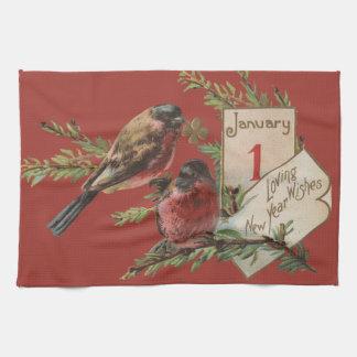 Vintage New Years Birds Tea Towel