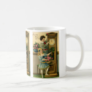 Vintage New Years Eve Victorian Children and Clock Basic White Mug