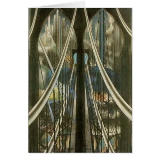 Vintage New York Architecture, Brooklyn Bridge Card