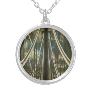 Vintage New York Architecture, Brooklyn Bridge Silver Plated Necklace