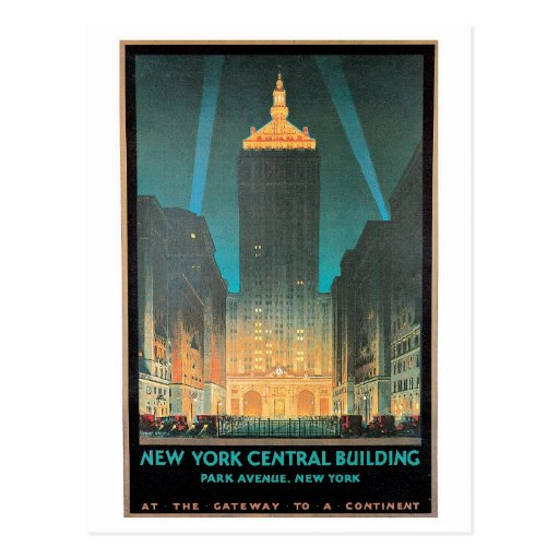 Vintage New York Central Building Travel Ad Post Card