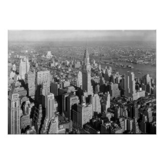 Vintage New York City Art Deco Skyscraper Poster