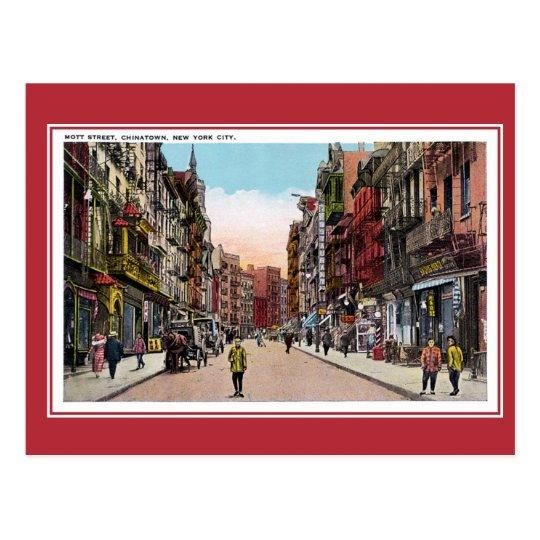 Vintage New York City Chinatown Mott Street Postcard