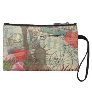 Vintage New York City Collage Wristlet Clutches