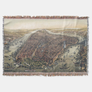 Vintage New York City, Manhattan, Brooklyn Bridge Throw Blanket