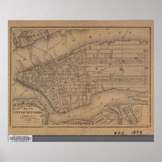 Vintage New York City Map Poster