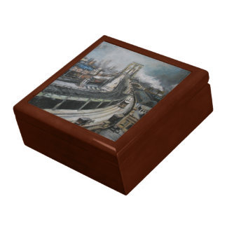 Vintage New York City Painting Brooklyn Bridge Large Square Gift Box