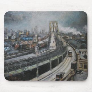 Vintage New York City Painting Brooklyn Bridge Mouse Mat