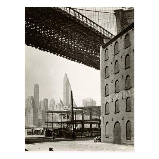 Vintage New York City Skyline Brooklyn Bridge Postcard