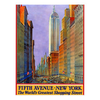 Vintage New York Fifth Avenue Travel by Train Postcard