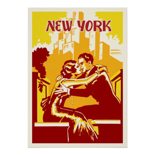 Vintage New York Poster - Warm Colors