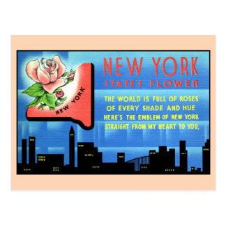 Vintage New York State Flower and love poem travel Postcard