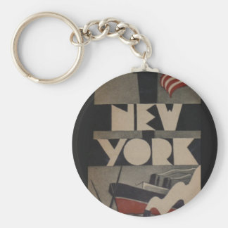 Vintage New York Travel Basic Round Button Key Ring