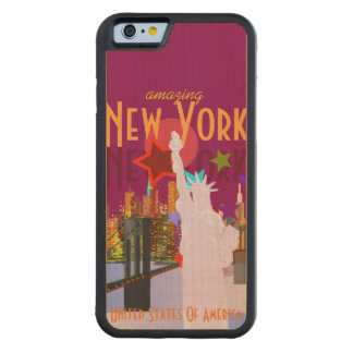 Vintage New York Travel Carved® Maple iPhone 6 Bumper Case