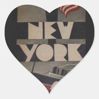 Vintage New York Travel Heart Sticker