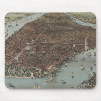 Vintage New York Waterfront Mouse Mat