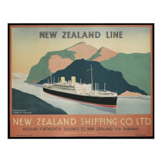 Vintage New Zealand Shipping Poster