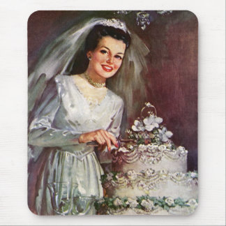 Vintage Newlywed Bride Cutting Her Wedding Cake Mouse Pad