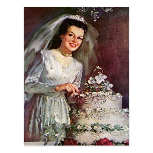 Vintage Newlywed Bride Cutting Her Wedding Cake Post Card