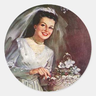 Vintage Newlywed Bride Cutting Her Wedding Cake Round Sticker