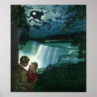 Vintage Newlyweds at Niagara Falls Print