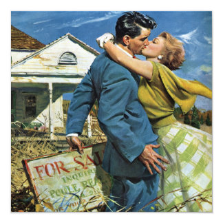 Vintage Newlyweds Buy First House, We're Moving! 13 Cm X 13 Cm Square Invitation Card