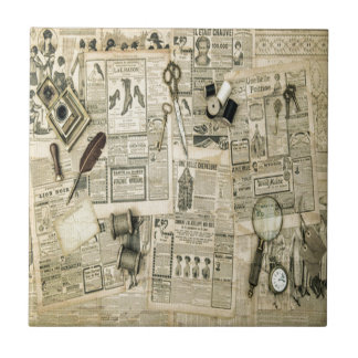 Vintage news collage,rustic,victorian,shabby chic ceramic tiles