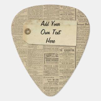 Vintage News Paper Label Personalized Plectrum