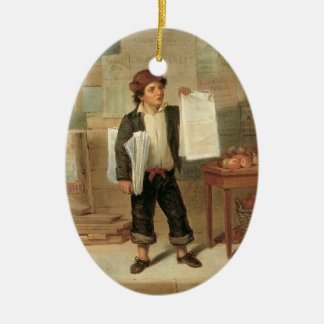 Vintage Newsboy Selling New York Herald, 1857 Ceramic Oval Decoration