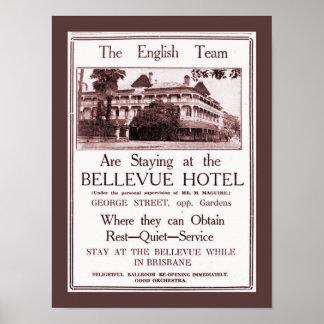 Vintage Newspaper ad 1933 Hotel Bellevue Brisbane Poster