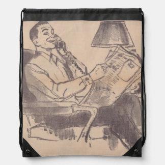 Vintage Newspaper Dad Drawstring Backpack