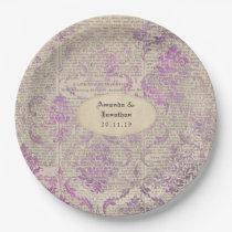 Vintage Newspaper Lavender Damask Wedding Paper Plate