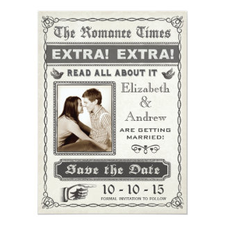 Vintage Newspaper Save the Date Invitation