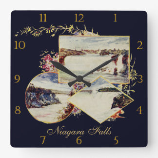 Vintage Niagara Falls Paintings Custom Square Wall Clock